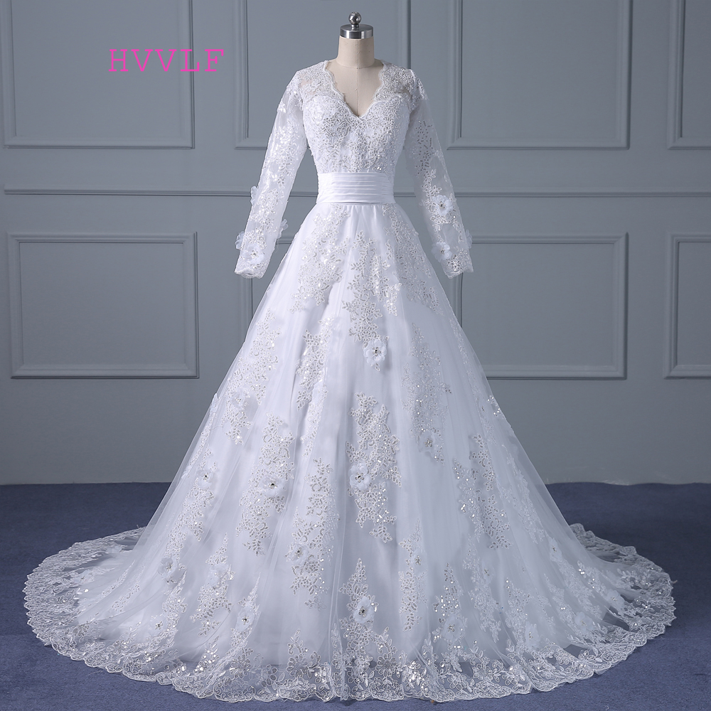 Vestido De Noiva 2018 Muslim Wedding Dresses A line Long Sleeves Appliques Lace Vintage Wedding Gown Bridal Dresses Real Photos