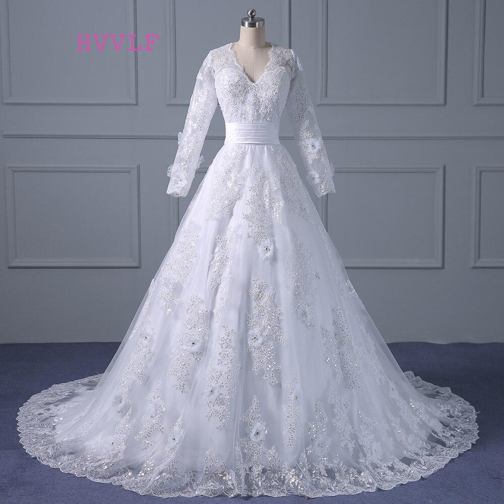 Vestido De Noiva 2019 мусульманские свадебные платья а силуэта с длинными рукавами Аппликации Кружева Винтаж свадебное платье Свадебные платья Реал