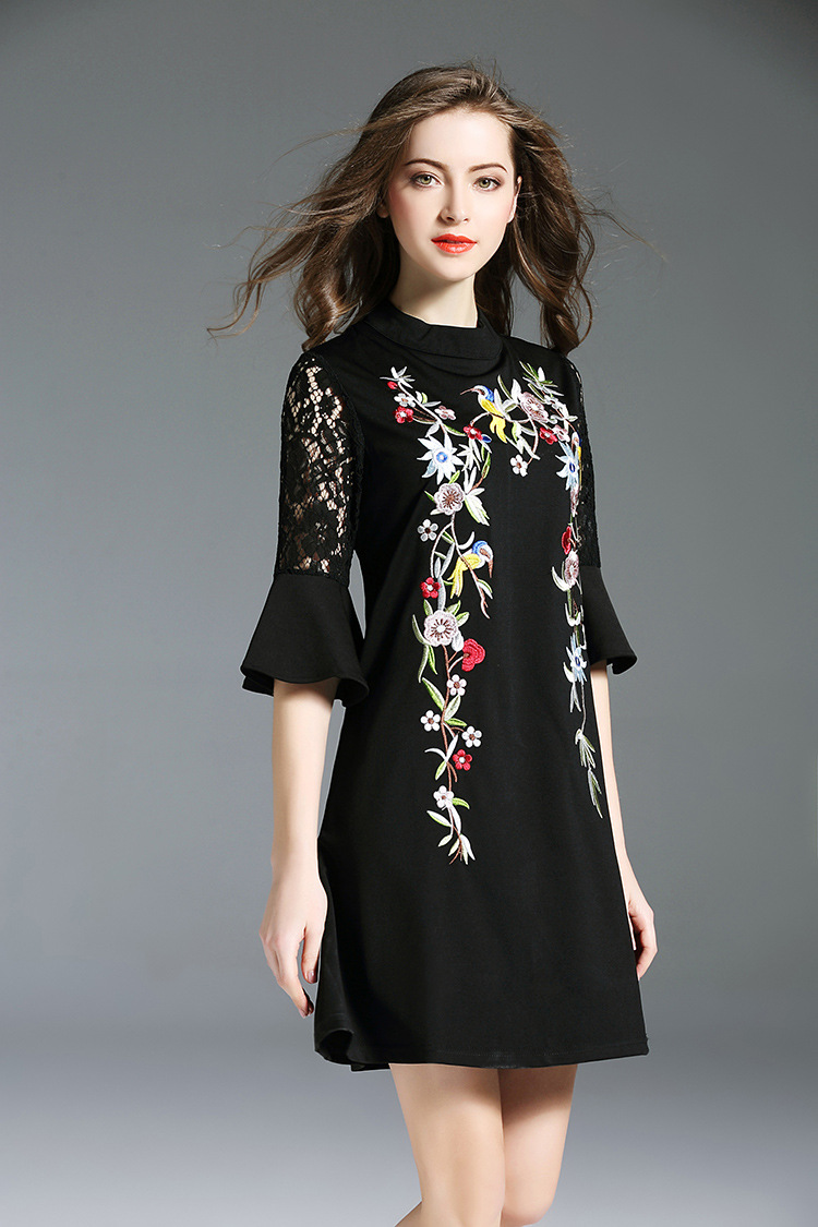 2018 Europe Sexy Women Spring Embroidery Flowers Casual Dress Party Evening Femme Mini Black Dresses Autumn Vestido De Festa in Dresses from Women 39 s Clothing