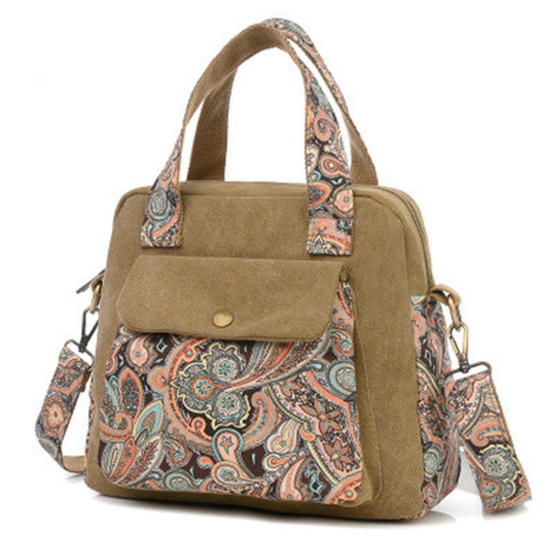 New Top Quality Vintage Women Handbag Ethnic Style Print Flower Canvas Large Tot