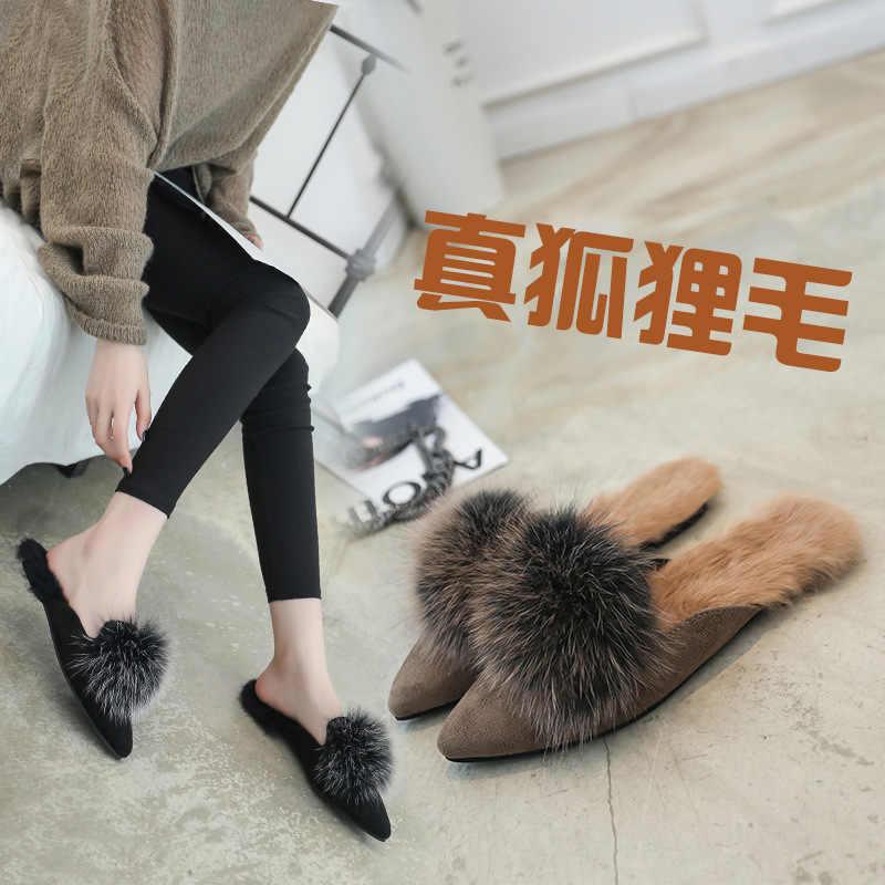 9f5ea964e8d Closed Toe slides pointed fur slippers flat heels platform sandals ...