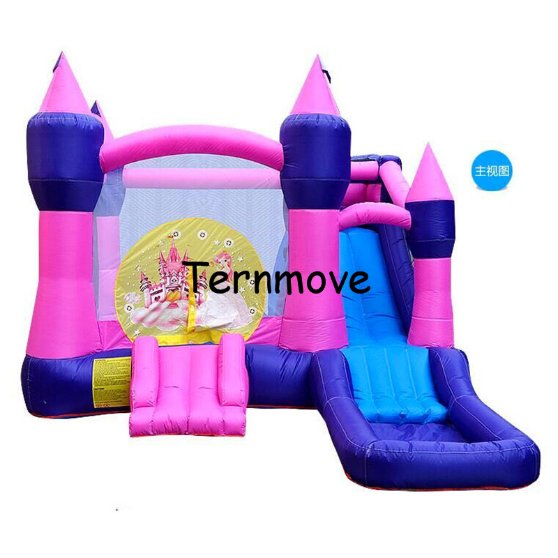 Inflatable Bounce House-Inflatable Slide Castle with small pool-pink indoor and outdoor palyground inflatable bouncer with slide new design bouncy castle inflatable bouncer with inflatable slide area to play and blower bounce house bouncer
