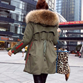 Novo 2017 Jaqueta de Inverno Mulheres Casacos Verdadeiro Grande Pele De Guaxinim Feminino Collar Parka Exército Verde Grossa de Algodão Acolchoado Revestimento Das Senhoras # E972