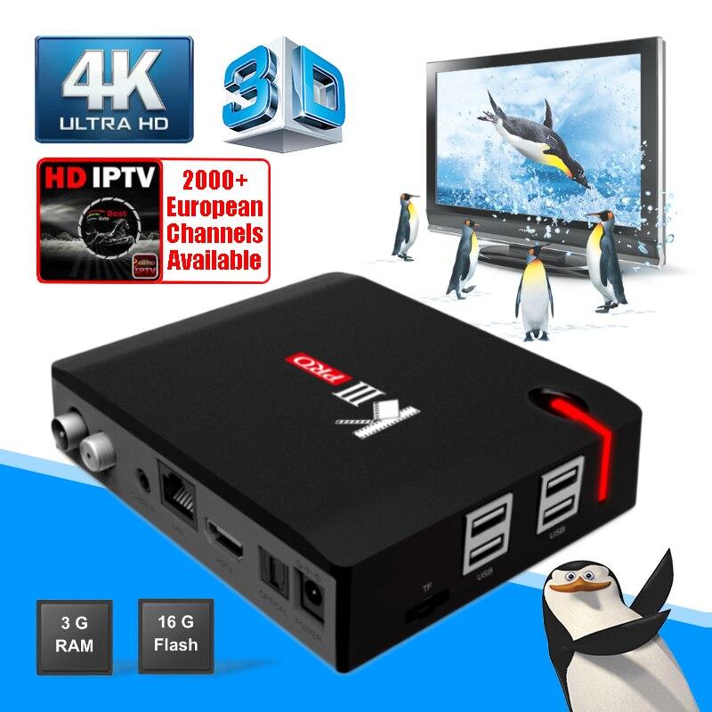MECOOL KIII Pro 3g 16 г DVB T2 S2 C Hybrid Смарт ТВ коробка Android 7,1 Amlogic S912 4 К HD телеприставки Двойной Wi Fi Спутниковый ресивер