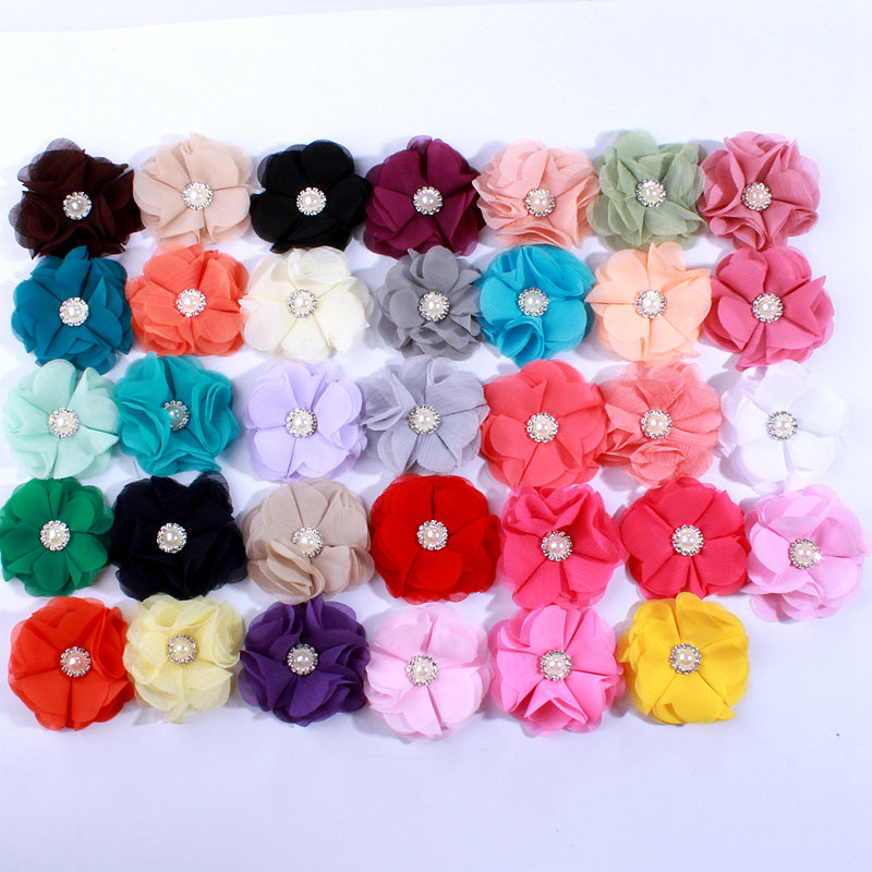 10PCS 5.5CM 34Colors New Style Cute Chiffon Flowers With Rhinestone Pearl For Hair Clips Fabric Flower For Headbands Head Wear
