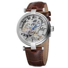 Reloj de esqueleto a la moda con manos azules, reloj mecánico automático de viento automático, reloj marrón de cuero genuino, manos luminosas, Horloge Mannen