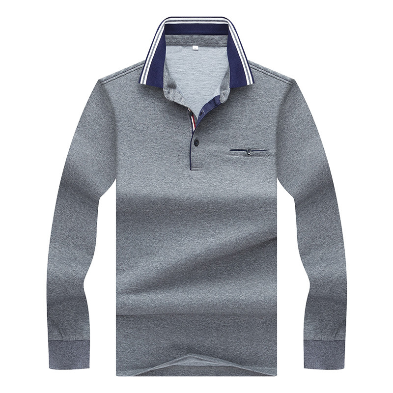 Mens Polo Shirt Brands 2018 Male Long sleeve Smart Casual Solid Color Deer Embroidery Polos Men 3XL