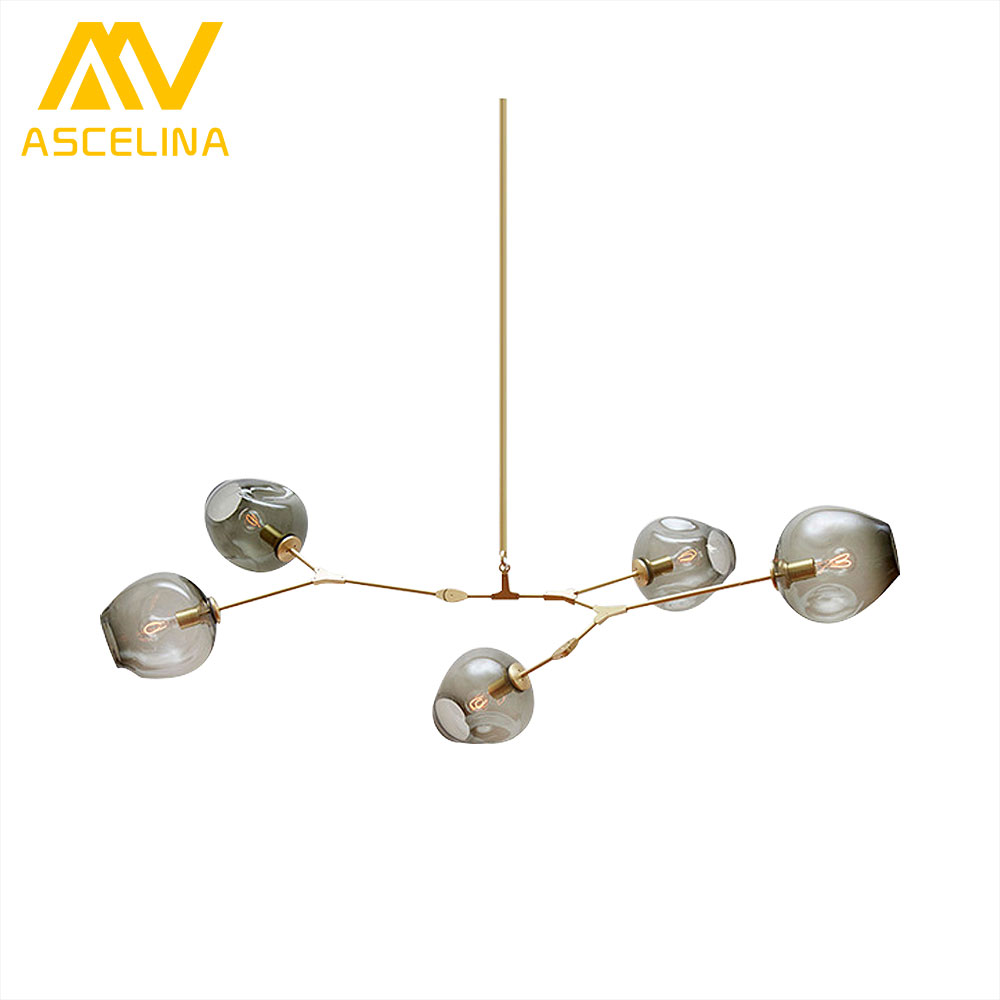 ASCELINA Nordic Modern Chandelier Industrial Led Lamp Glass Lampshade chandelier lighting Lamps for Living Room light fixture