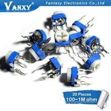 20 шт. RM065 RM-065 100 200 500 1K 2K 5K 10K 20K 50K 100K 200K 500K 1M Ом тримпот триммерный Потенциометр переменный резистор