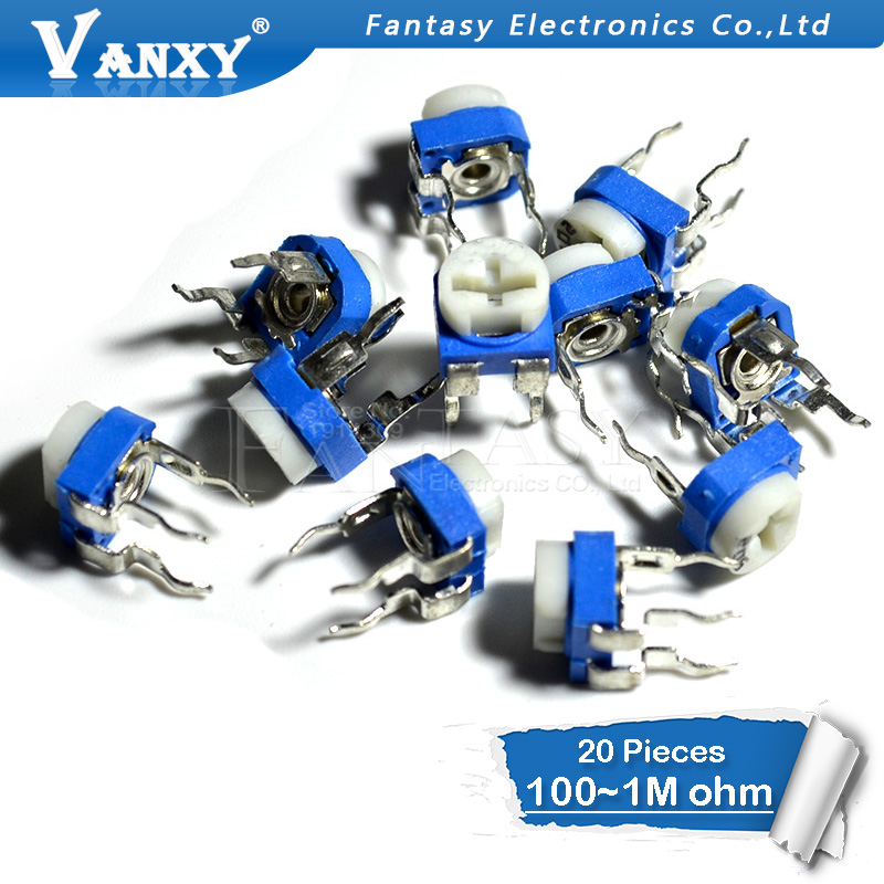 цены 20pcs RM065 RM-065 100 200 500 1K 2K 5K 10K 20K 50K 100K 200K 500K 1M ohm Trimpot Trimmer Potentiometer variable resistor
