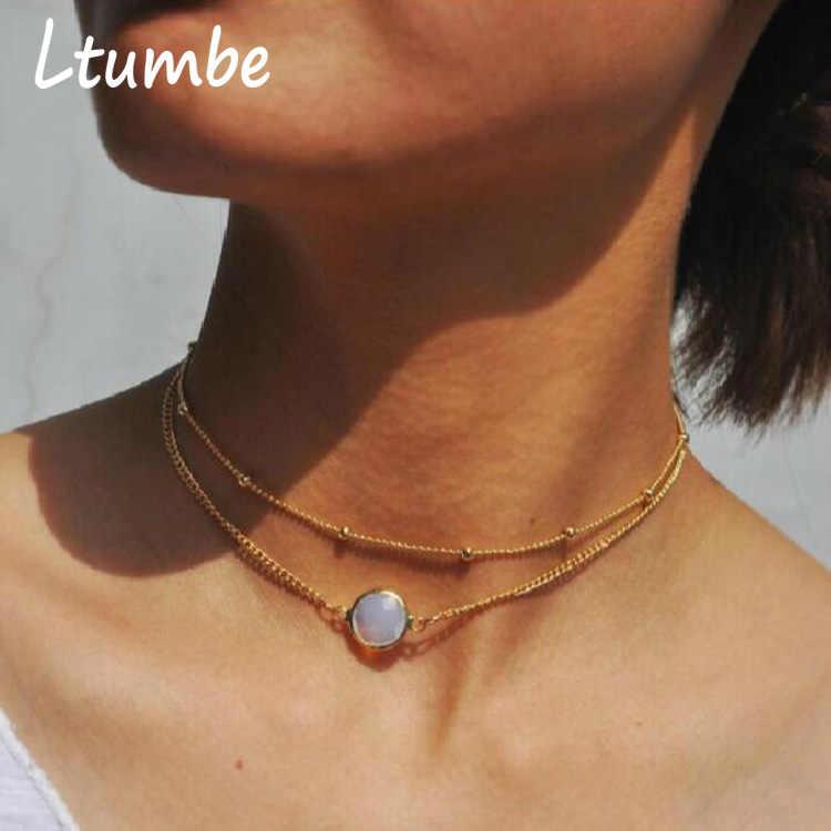 Ltumbe 新到着オパールクリスタル模擬パールウォータードロップネックレスペンダント鎖骨スパンコール女性のジュエリー