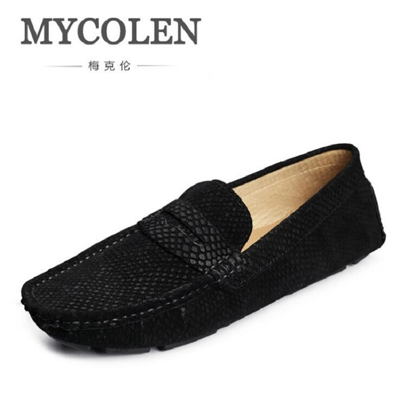 MYCOLEN New Fashion Flats Breathable Genuine Leather Luxury Brand Driving Men Shoes Casual Mens Loafer Zapatillas Hombre men luxury brand new genuine leather shoes fashion big size 39 47 male breathable soft driving loafer flats z768 tenis masculino