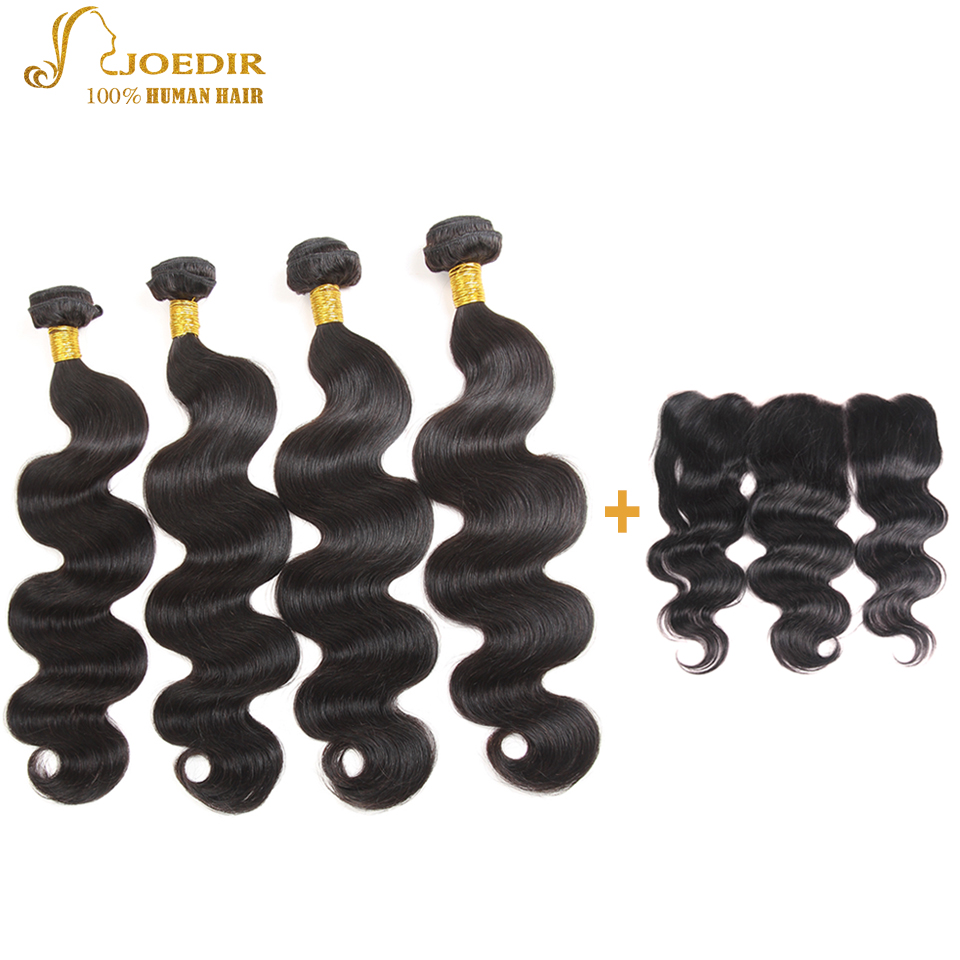 JOEDIR Hair Pre-Colored Indian Body Wave Human Hair Bundles With Closure 13x4 Ear To Ear Lace Frontal Non Remy Hair Extension