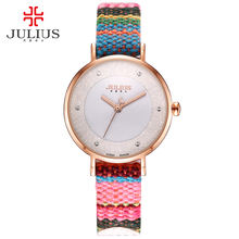 JULIUS Watches Fabric Colorful Bohemia Tweed Drama Retro Style Wristwatch 2017 New Arrival Montre Femme Dress