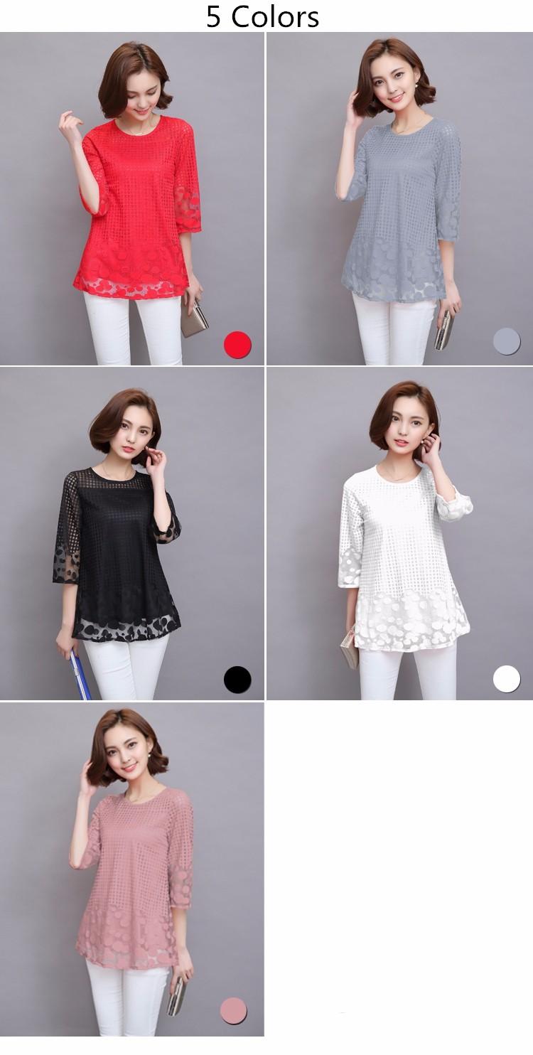 HTB10HzwJVXXXXaUXFXXq6xXFXXXD - 3/4 Sleeve Lace Blouse Hollow Out Women Summer Blouses Shirts