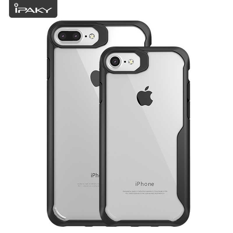 Coque iPhone 6s 6 protection Acrylic IPAKY Transparent Protection Anti choc Classique Design (Noir)