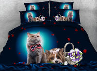 Cute Cats Dogs 3D Reactive Printing Bedding Sets Quilt/Duvet Covers Bedspreads Childrens Babys Bedroom Decor Woven 500TC Blue 4p
