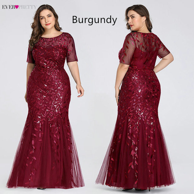 Plus Size Elegant Evening Dresses Saudi Arabia Ever Pretty Mermaid Sequined Lace Appliques Mermaid Long Dress 2019 Party Gowns 1