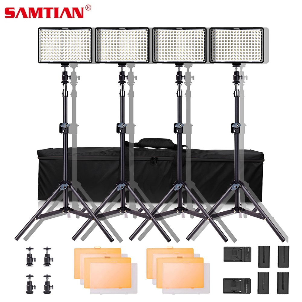 SAMTIAN TL 160S 4 Kit Video Light for Photography Studio Light Photographic Lighting With Tripod Dimmable