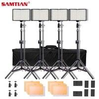 SAMTIAN TL 160S 4 комплект видео свет для фотостудии фотографическое освещение с штатив затемнения 5600 К светодио дный светодиодный Фото лампа