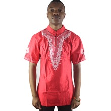 Africa Red Men`s Ethnic Embroidered Tops Mandarin Collar Short Sleeved Kaftan Shirts for Male Summer Wearing