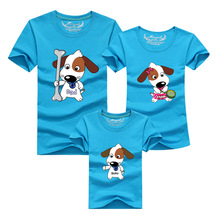 1pcs Matching Family Clothes Mom And Son Shirt 2016 Casual Cartoon Dog Short-sleeve T-shirt For Mother Father Baby Mae E Filha