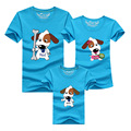 1psc Matching Family Clothes Mom And Son Shirt 2016 Casual Cartoon Dog Short-sleeve T-shirt For Mother Father Baby Mae E Filha