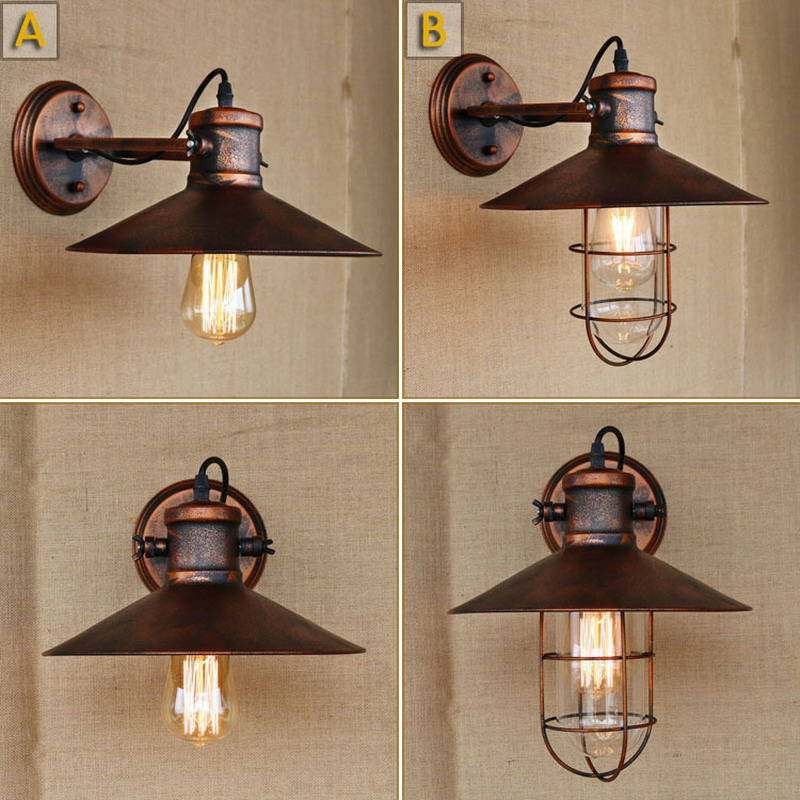 Lamps & Shades 2019 New Style Reto Vintage Antique Rust Swing Head Wall Lamp Led E27 For Workroom Bedside Bedroom Illumination Sconce Bathroom To Clear Out Annoyance And Quench Thirst