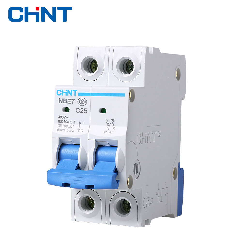 CHINT Miniature Circuit Breaker NBE7 2P 25A Small Air Switch Household Circuit Breaker Socket Circuit Breaker cm1 400 3300 mccb 200a 250a 315a 350a 400a molded case circuit breaker cm1 400 moulded case circuit breaker