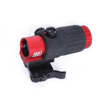 SPINA OPTICS 33 Airsoft 3X büyüteç anahtarı ile yan hızlı ayrılabilir QD dağı avcılık için siyah kum ve kırmızı renkli