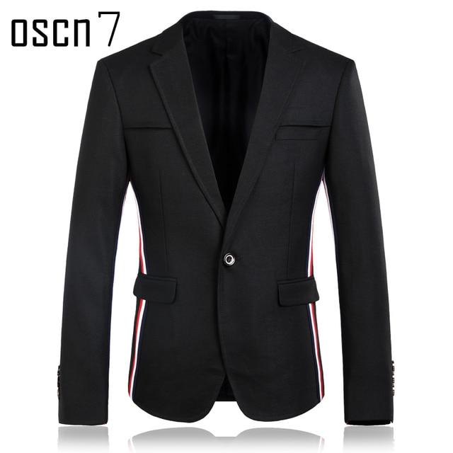 Aliexpress.com : Buy OSCN7 Black Striped Blazer Men Slim Fit Brand ...