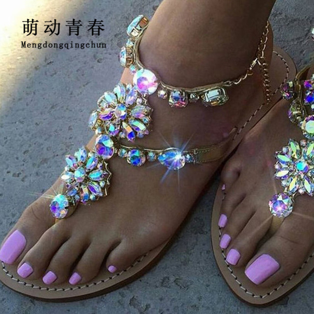 6 cor Mulher Sandálias Das Mulheres Sapatos de Strass Cadeias Gladiador Tanga Plana Sandálias de Cristal Chaussure Plus Size 46 tenis feminino
