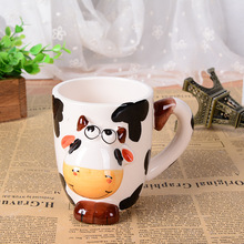 3D stereo creative hand painted cartoon animal mug office large ceramic cup children drinkware Christmas lovers gift