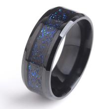 8mm Black Hollow blue Dragon 316L Stainless Steel wedding rings for men women wholesale