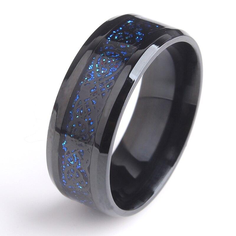 8 мм Черный Hollow синий Дракон Нержавеющей Стали 316L обручальные кольца для мужчины женщины оптовая