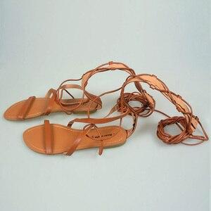 Image 5 - Sandales de gladiateur pour femmes, chaussures plates, bottes hautes Sexy, ficelle, Style été, nouvelle collection 2019, décontracté