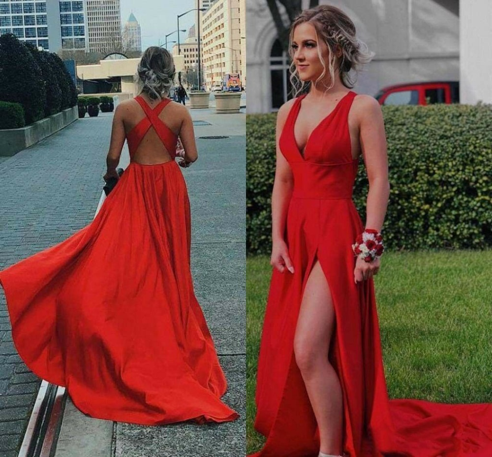 Sexy Side Split Prom Dresses Deep V Neck Formal Long Satin Evening Party Gowns