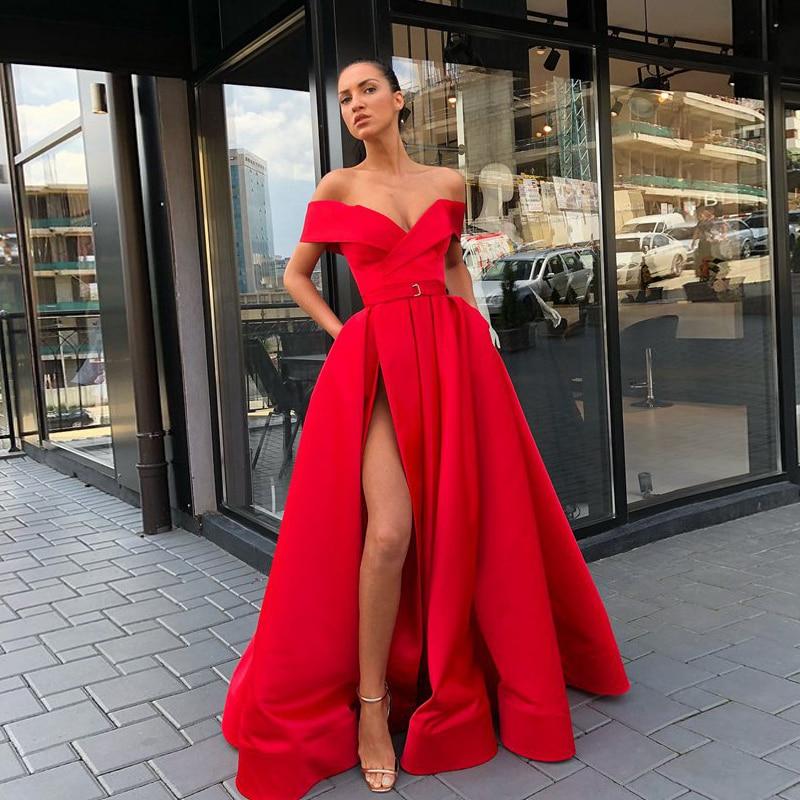 Abendkleider Long Evening Dress 2019 Sexy High Slit V-neck Arabic Style Dubai Women Floor Length Red Formal Evening Gowns