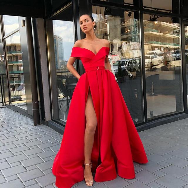 Abendkleider Long Evening Dress 2019 Sexy High Slit V-neck Arabic Style  Dubai Women Floor Length Red Formal Evening Gowns 37bc8f4c7e9a