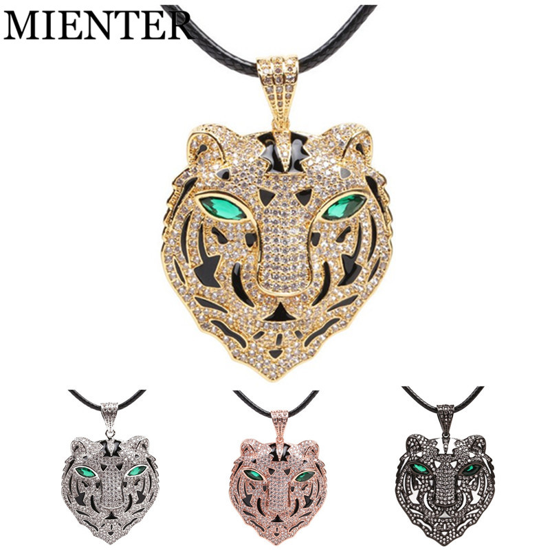Green eyes gold silver tiger Trendy men Necklaces for Women CZ Guardian Pendant Necklace exaggeration Jewelry Gifts