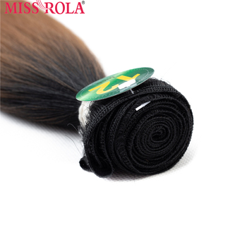 Miss Rola Synthetic Straight Hair Weft Ombre Colored Hair Weaving Bundles 8-14inch 5pcs/Pack 200g T1B/27 With Free Closure