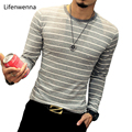 New 2017 Autumn Men's T Shirt Fashion Striped O Neck Long Sleeve T Shirt Mens Clothes Trend Casual Slim Fit Top Tees Shirt 5XL