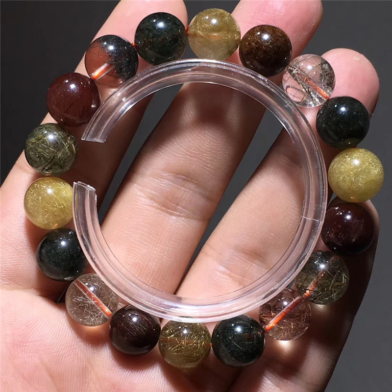 11.5mm Natural Colorful Rutilated Quartz Bracelet Women Love Gift Charms Crystal Round Bead Gemstone Business Wealthy Jewelry11.5mm Natural Colorful Rutilated Quartz Bracelet Women Love Gift Charms Crystal Round Bead Gemstone Business Wealthy Jewelry