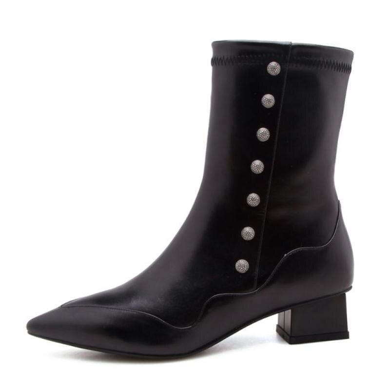 Vulusvalas De Bottes Talons Noir En Taille ivoire Dames Femme Bout Pointu Hiver Chaussures 34 Sexy À Véritable Cuir 39 Femmes Cheville Luxe Hauts rxvarA