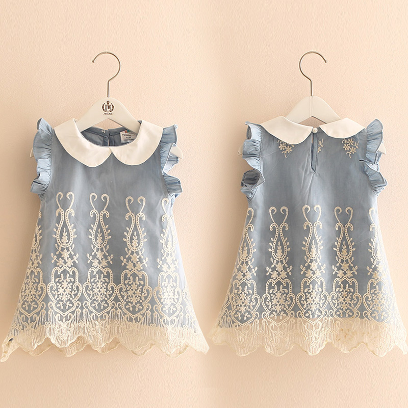 2018 Summer 2-10 Years Old Beautiful Children Kids Pleat Peter Pan Collar Fly Sleeve Party Lace Blue Denim Vest Dress For Girls2018 Summer 2-10 Years Old Beautiful Children Kids Pleat Peter Pan Collar Fly Sleeve Party Lace Blue Denim Vest Dress For Girls