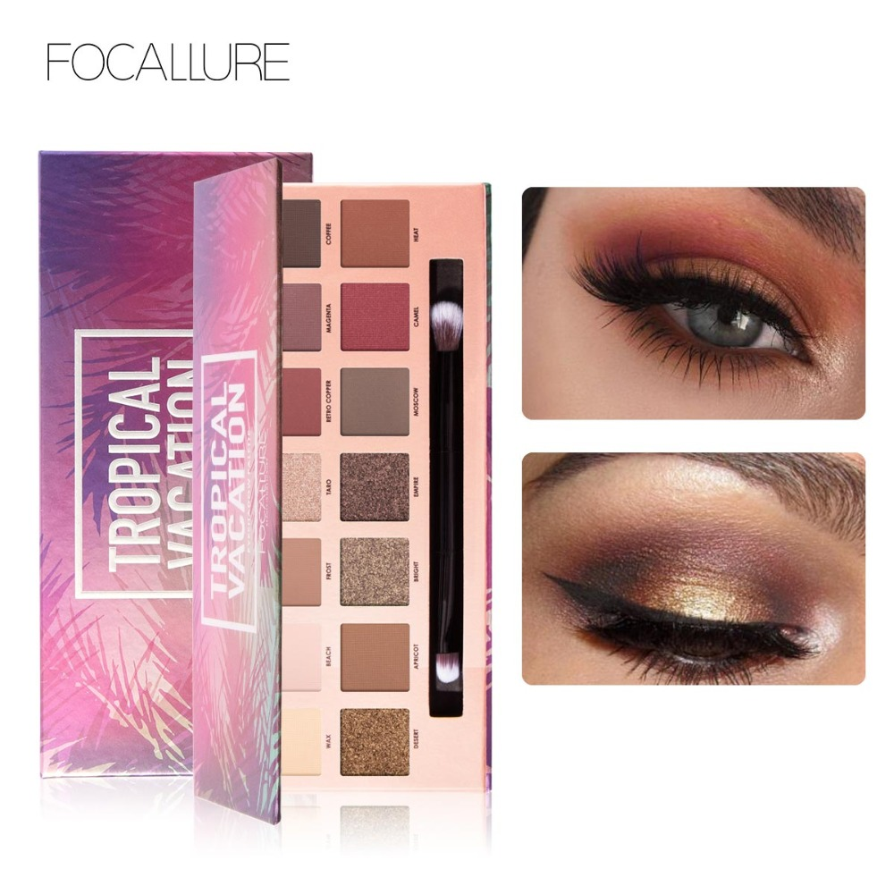Focallure 14 Color Eyeshadow Palette with makeup brush Powder Professional Make