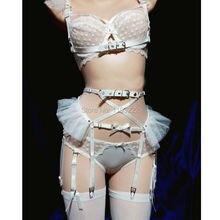 Cosplay Lolita Kawaii Handgemachte Sexy Harajuku Leder Elastische Strumpf Gürtel Chiffon Mesh Taille Strumpfbänder Harness für Kleid Kostüm