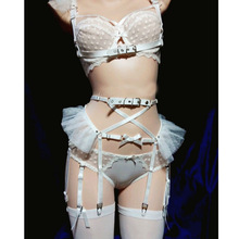 219d237e42 Cosplay Lolita Kawaii Handmade Sexy Harajuku Leather Elastic Garter Belts  Chiffon Mesh Waist Garters Harness for