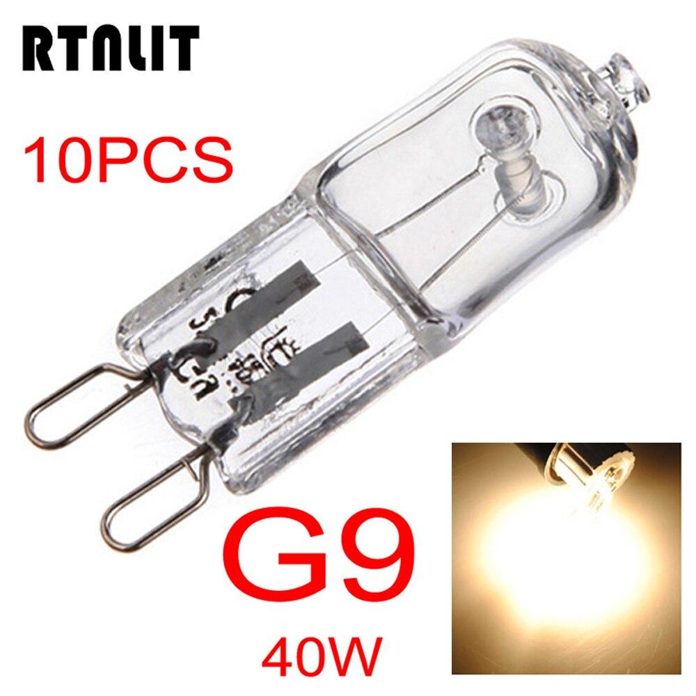 10pcs G9 40W Halogen Light Bulb Long Life Capsule Lamp Warm White Clear Bulbs 360 Degree Home Lighting