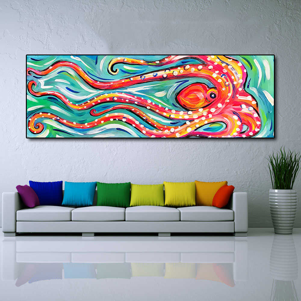 QKART Canvas Painting Wall Art Animal Oil Painting Colored Octopus Canvas Picture for Living Room Friendship Home Decor No Frame